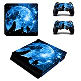 PS4 Slim Skins Console and Controller by ZOOMHITSKINS, Same Decal Quality for Cars, Black Wolf Pack Sky Moon Blue Devour Stars Animal Lone Night Howl, Fit PS4 Slim, Made in USA