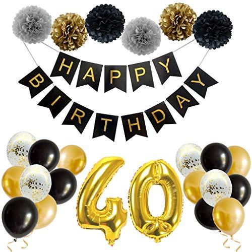 Feelairy 40. Decoraciones de Cumpleaños Oro Negro - Guirnalda de Feliz Cumpleaños, Pompones de Papel, Gigantes Globos Papel de Aluminio Número 40 Fiesta de Cumpleaños para Hombres, Mujeres, Adultos