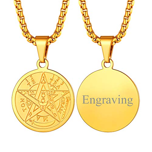 FaithHeart Amuletos y Talismanes Personalizados Monedas Circulares Pequeñas con Cadena Eslabones Cuadrados Planos Colgante Mágico de Talismán Amuleto de Protección Sigilo