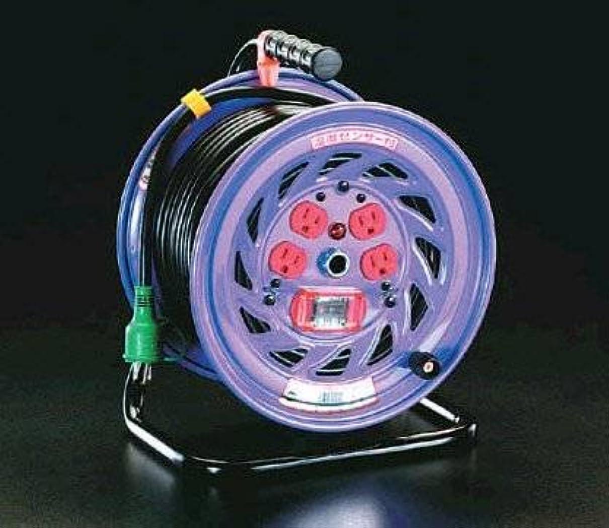 スタック挽く自分を引き上げるエスコ AC100V/15A/30mコードリール(過負荷漏電遮断付) EA815DK-30
