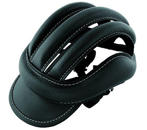 3845 Casco da ciclismo in pelle, per adulti, stile vintage, taglia standard, colore: nero