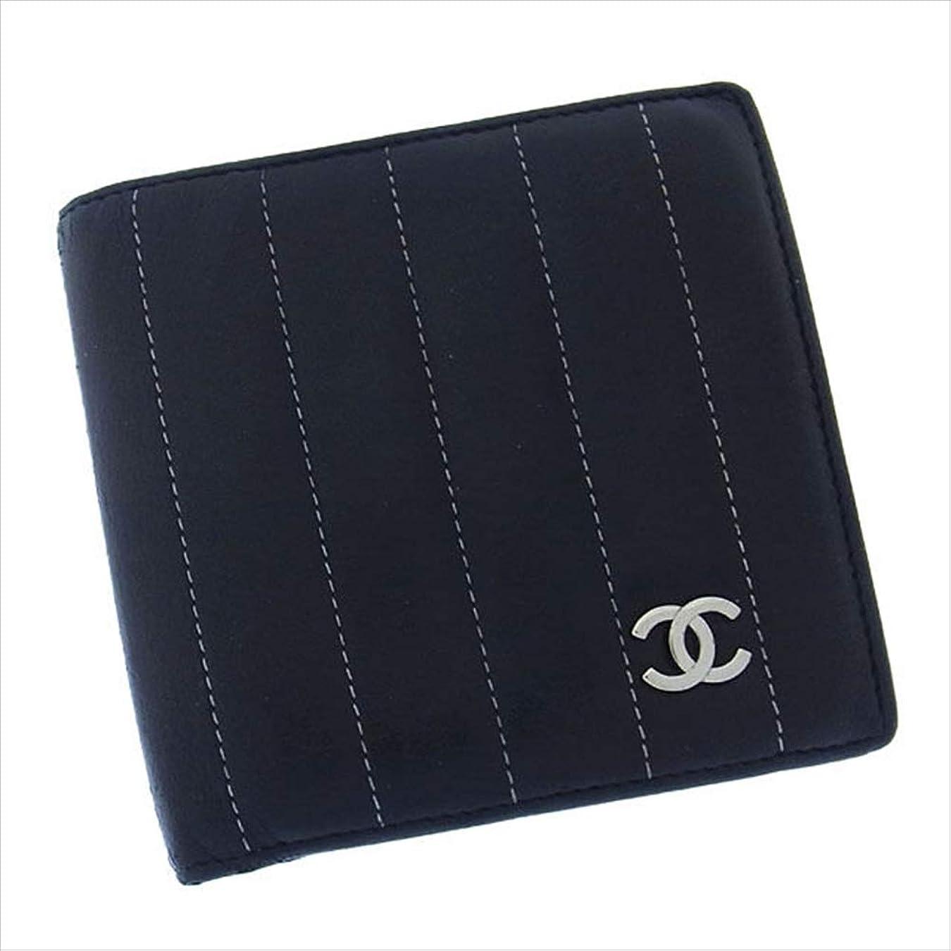 交じる原子クレーンシャネル CHANEL 二つ折り財布 コンパクトサイズ レディース ココマーク付き マドモアゼルライン 中古 レア 良品 T15215