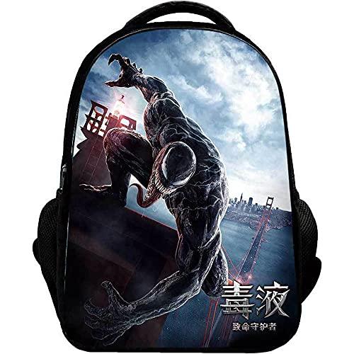 JKHN Borsa per Studenti 3D Venom Printed Large Storage Studenti Adolescenti Casual Daypack Spalle Leggere Borse da Scuola per Bambini di età Compresa tra 6-12 D-42 * 18 * 29CM
