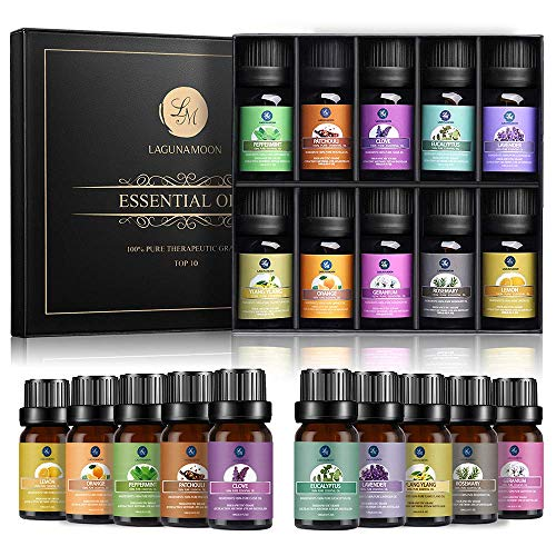 Lagunamoon Essential Oils Gift Set,Top 10 Pure Aromatherapy Oils- Includes Lavender Orange Peppermint,Lemon,Rosemary Essential Oil