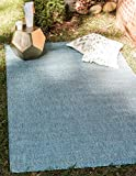 Unique Loom Outdoor Solid Collection Casual Transitional Indoor and Outdoor Flatweave Aquamarine  Area Rug (8' 0 x 11' 4)