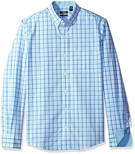 Izod Herren Essential Tattersall Long Sleeve Shirt Button Down Hemd, Gulf Stream Legacy 1, X-Large Schlank