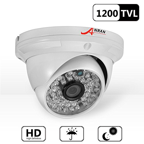 ANRAN HD 1200TVL 48 IR-LEDs High Resolution NTSC CCTV Camera Home Security Day/Night Waterproof Infrared IR Night Vision Outdoor/Indoor Wide Angel 3.6mm Lens Dome Surveillance Home Video System