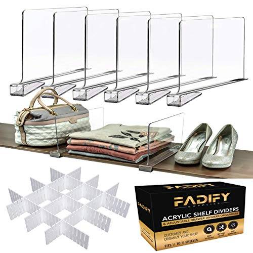 FADIFY Premium Acrylic Shelf Dividers for Closets | 6PCS Clear Shelf Dividers & 12PCS Plastic Drawer Dividers | Closet Shelf Divider | Ideal for Closets With Wooden Shelves, Wardrobes, Kitchen, Office