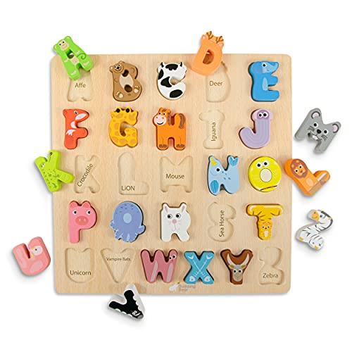 Budding Bear Puzzle de Madera Letras de Alfabeto Animales - Madera Natural 100% Ecológica - Sin Químicos, Plástico y Toxinas – 26 Piezas + Tablero - Puzzle Niños 3 Años+ Nombres Animales en Inglés