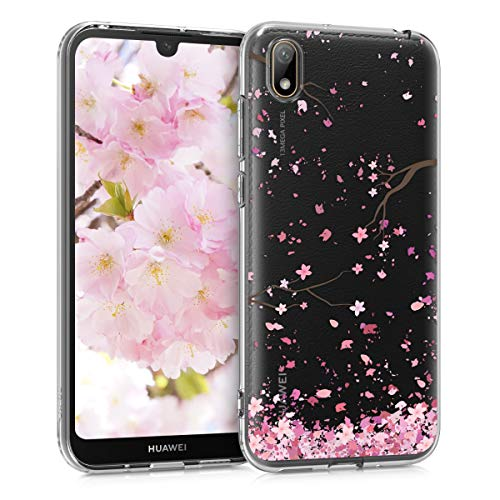 kwmobile Hülle kompatibel mit Huawei Y5 (2019) - Hülle Silikon transparent Kirschblütenblätter Rosa Dunkelbraun Transparent