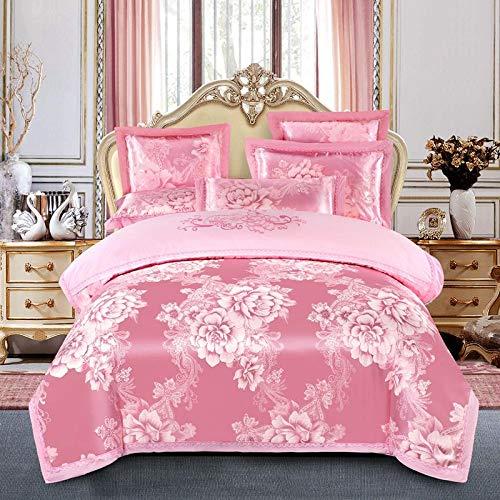 GAOXUE beddengoed set dubbel, Jacquard dubbel bed beddengoed set, geborduurd kingsize dekbed en kussensloop, katoenen lakens