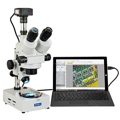 OMAX Microscopio estéreo con zoom trinocular digital de 3.5X-90X USB3 18MP en soporte de escritorio con luz halógena doble