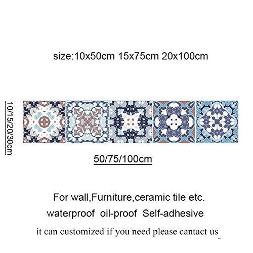DWWSP Haus Dekoration Arabisch Retro Fliesen-Aufkleber for Küche Badezimmer PVC Selbstklebende Wand-Aufkleber Wohnzimmer DIY Hausdekor Tapete Wasserdicht (Color : 2034 11, Size : 10x50cm)