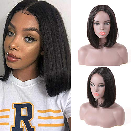 """Perruques de cheveux humains de cheveux raides brésiliens sans colle pour les femmes noires 12 """"perruque de Bob en dentelle courte pré-plumée 150% densité couleur naturelle"""