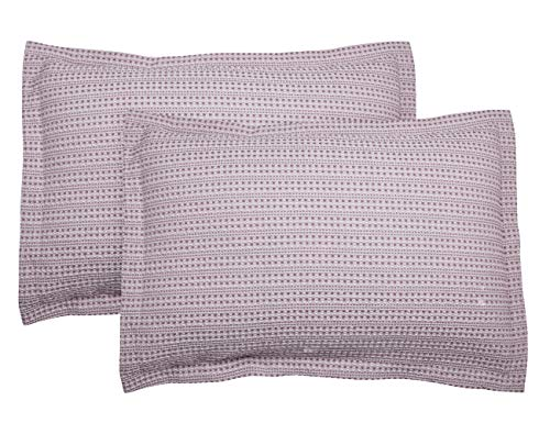 PHF Cotton Waffle Weave Pillow Shams Covers, King Size (20' X 36'), Set of 2, Yarn Dyed, Soft and Cozy Home Decorative Pillow Cases, No Filling, Pale Purple