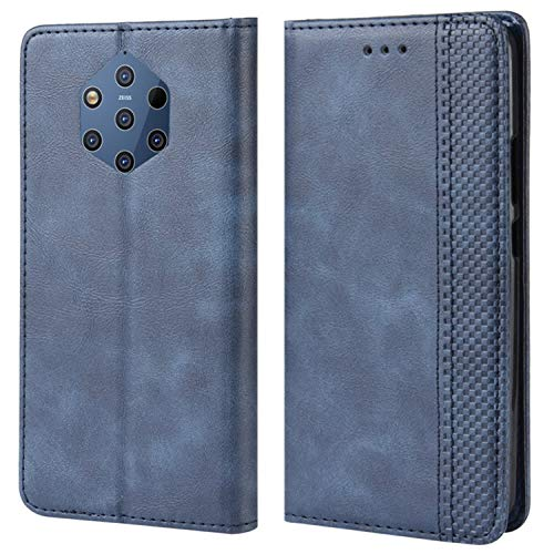 HualuBro Handyhülle für Nokia 9 PureView Hülle, Retro Leder Brieftasche Tasche Schutzhülle Handytasche LederHülle Flip Hülle Cover für Nokia 9 PureView - Blau