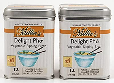 Millie's All Natural Organic Gluten-Free Vegetable Sipping Broth 12 Tea Bags Delight Pho (2-Pack)