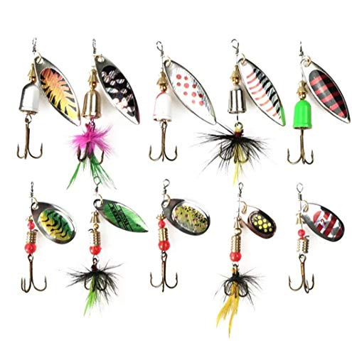 Fishing Lures Spinner Baits 10pcs with Fishing Tackle Box, Steelhead Lures, Bass Fishing, Bass Trout Salmon Hard Metal Spinner Baits Kit