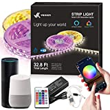 Limitless Led Strip Lights – 32.8 FT - Unlimited Color, Sequence, Strobe, Music Sync – Google Home & Alexa Compatible – Smart App + WiFi Controller + IR Remote, Dimmer On/Off Timer – 3M Peel Off