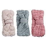 Lurrose 3 pezzi fascia Spa trucco fasce donne corallo del vello dei capelli cosmetici fasc...