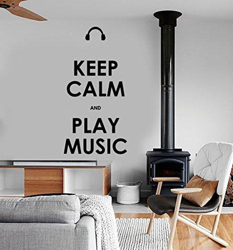 Keep Calm and Play Music Citation Sticker vinyle autocollant mural Art Home décoration murale bébé