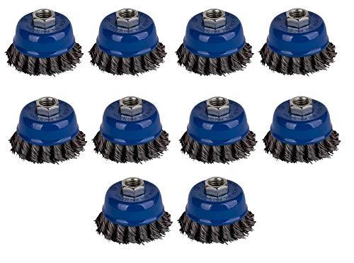 10x Topfbürste Ø 65 mm gezopft M14 Drahtbürste Zopfbürste für Winkelschleifer