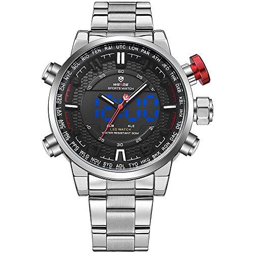 WEIDE analógico Digital watch-men de moda negocio clásico reloj de pulsera de acero inoxidable, alarma, calendario (plata/negro)
