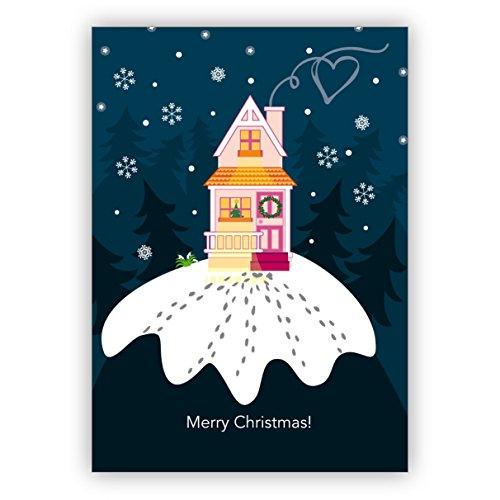 Leuke kerstkaart met huisjes in de winter nacht: Merry Christmas • mooie wenskaartenset met enveloppen voor Kerstmis, Nieuwjaar, oudejaarsavond voor familie, vrienden, collega's van de firma 10 Grußkarten