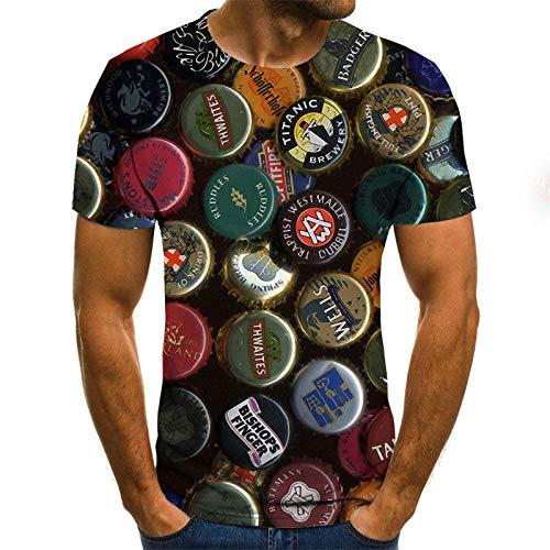 t-Shirt 3D National Bierdeckel T-Shirt männlich 3DT Shirt kurzärmelig Rundhals Digitaldruck lässig kurzärmelig-Color_M
