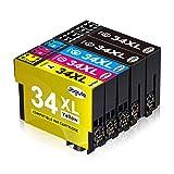 Jagute 34XL - Cartuchos de tinta compatibles con Epson 34 XL T3471 T3472 T3473 T3474 (2 negro, 1 cian, 1 magenta y 1 amarillo)