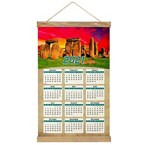 "Reino Unido Inglaterra Stonehenge Imprimir Póster Calendario de Pared 2021 12 Meses Pintura decorativa Cuadros Colgantes Lienzo Madera 20.4 ""x 13.1"" GL-UK-6084"