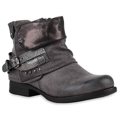 Damen Biker Boots Nieten Schnallen Stiefeletten Rockig Gr. 36-42 Schuhe 121872 Grau Kroko 36 Flandell