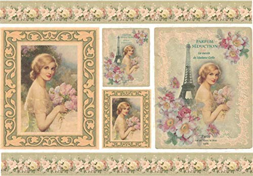 Zita`s Creative Reispapier A4 - Parfum Seduction. Motiv-Strohseide, Strohseidenpapier, Decoupage Papier