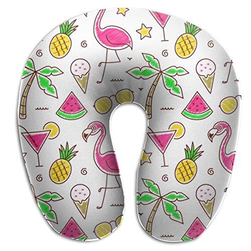 Almohada en Forma de U, Cuello, Fruta, Flamenco, Viaje, Almohada Multifuncional, Coche, avión