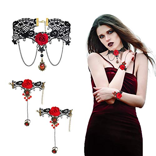 CHIFOOM 3pcs Rose Lace Necklaces,Vintage Red Choker Bracelet Beads Chain Set Gothic Vampire Pendant Jewelry for Women Girls Princess Lolita Wedding Party Masquerade Beach Bar