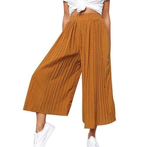 Lulupi Damen Culottes Pluderhosen Hose Frauen Hose mit Weitem Bein Übergröße Pluderhosen Plus Size Chiffon Casual 7/8 Hose Lange Freizeithose
