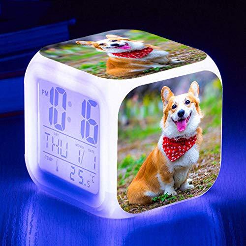 HUA5D Despertador Digital Perro Mascota Infantil Regalos De Cumpleaños Wake Up Light Alarm Clocks Niño & Niña Dormitorio Decorar-Niños 7 Color Cambiante Luz Nocturna Lampara De Cabecer(B236)