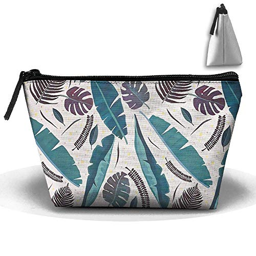 Tropical Palm Leaves Printed Waterproof Trapezoidal Bag Cosmetic Bags Makeup Bag Large Travel Toiletry Pouch Portable Storage Pencil Holders