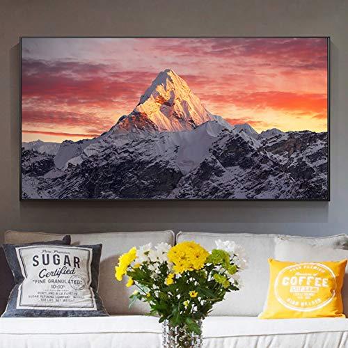 GUDOJK Lienzo decorativo para pared, diseño de montaña Everest al atardecer, 60 x 120 cm