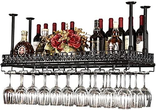 Estantes para Vino Altura Ajustable Montado en el Techo Soporte para Botella de Vino Colgante Metal Hierro Estante para Copas de Vino Estantes para Copas de Copa Estilo Vintage Aplicación de Deco