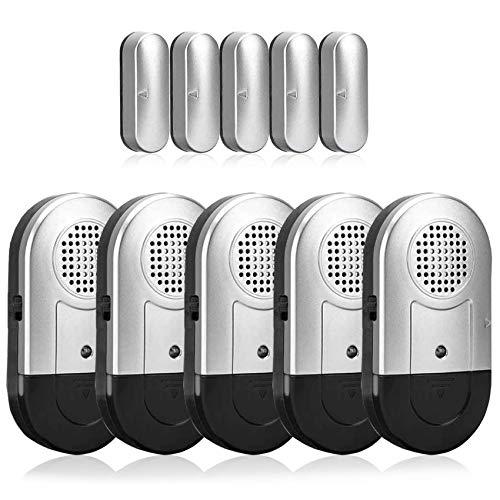 SanJie - Alarma de puerta y ventana, 5 unidades, sensor magnético inalámbrico de seguridad para el hogar, 120 DB, sistema de alerta fuerte para el hogar, negocios, alarmas de...