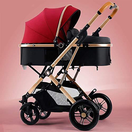 LOXZJYG Cochecito de Cochecito Infantil, Cochecito de bebé Plegable con Dosel Ajustable, Cochecito para bebés y niños pequeños (Color : Rojo)