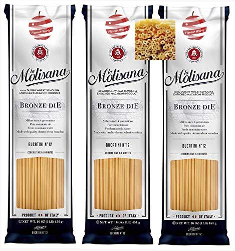 La Molisana Bucatini No. 12 Italian Dried Pasta 1.5kg (3 x 500g Packs)