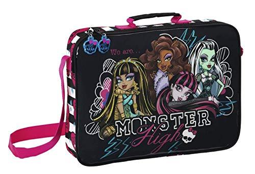 Monster High - Schultasche; 38 x 28 x 6 cm; schwarz, weiß, pink