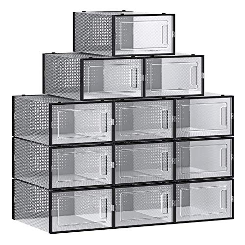 SONGMICS Shoe Boxes Pack of 12Stackable Shoe Storage Organizers Foldable and Versatilefor Sneakers Fit up to US Size 85 Transparent and BlackULSP006B12