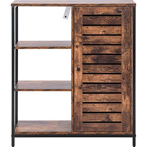 DFGGG Aparador de cocina con 3 estantes abiertos, diseño industrial, marco de acero, marrón y negro, 70 x 30 x 80 cm