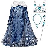 Monissy La Reine des Neiges Elsa Princesse Robe Fille Bleu Col Blanc Duvet Manche Longue...