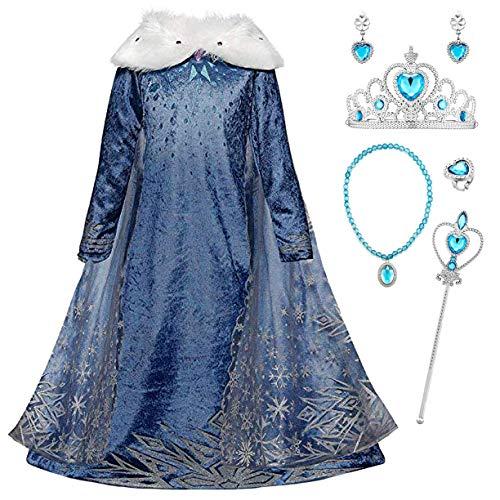 Monissy La Reine des Neiges Elsa Princesse Robe Fille Bleu Col Blanc Duvet Manche Longue Cape Tulle Glace Neiges Imprimé Asymétrique Costume Frozen Mariage Anniversaire Canarval - Bleu - 150