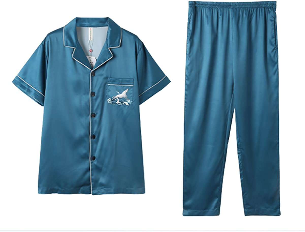 ft FENTENG Men's Pajamas Set Short-Sleeved Sleepwear Set Silky Summer Plus Size Sleepshirt for Home