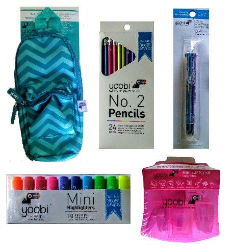 Escuela Suministros Kit: Incluye Mini estuche, diseño de mochila Mini escritorio suministro Kit, 10 Pack Mini fluorescentes, 24 unidades # 2 Lápices, y 1 eight-color retráctil bolígrafo: Amazon.es: Oficina y papelería